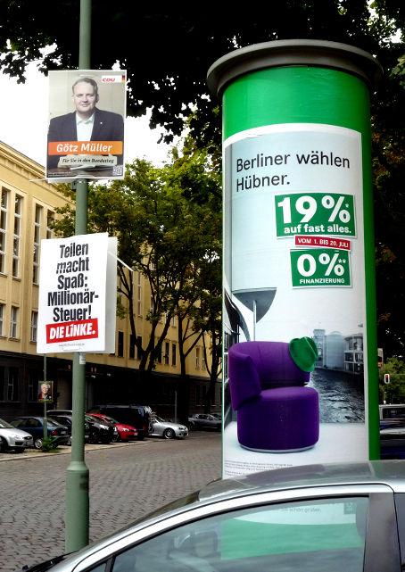 Politblog debattiersalon | #btw13 | Hat der Berliner eine Wahl? Wahlplakate Bundestagswahl Die Linke CDU Hauptstadt | Foto: Marcus Müller © 2013