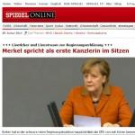 Politikblog debattiersalon | Kanzlerin Angela Merkel (CDU) hält Regierungserklärung als erste Kanzlerin im Sitzen - wie Live-Ticker vermelden | Screenshot Spiegel Online