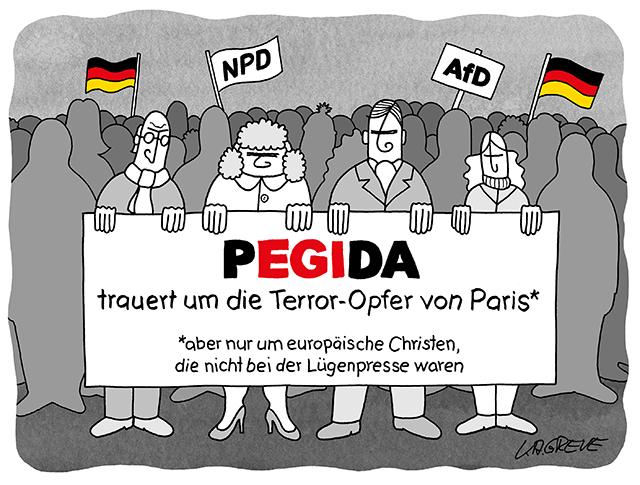 Politblog debattiersalon | Nach dem Anschlag auf Charlie Hebdo und dem Terror in Paris will Pegida wieder in Dresden marschieren. Zeigt sich die Bewegung verständnisvoll? | Karikatur von Katharina Greve ©