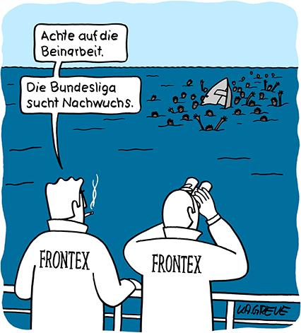 debattiersalon | So würde sogar die EU sich für Flüchtlinge interessieren | Karikatur von Katharina Greve © 2015  | Mittelmeer, Frontex, Flüchtlinge, Mare Nostrum, Bundesliga